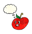 cartoon apple with thought bubble vector image vector image