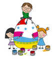 children painting a big easter egg vector image vector image