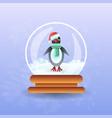 christmas magic ball with pinguin wearing santa vector image vector image