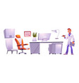 clinic cabinet interior stuff and male doctor set vector image vector image