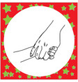 close-up mother holding a hand of her child vector image vector image
