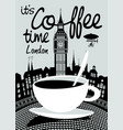 coffee banner on background of london landscape vector image