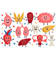 cute internal organs healthy funny heart stomach vector image