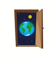 earth planet with stars and sun inside door vector image