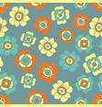 fantasy flowers pattern in lemon blue and orange vector image vector image