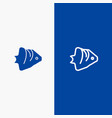 fish coral ocean schooling banner line and glyph vector image