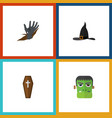 flat icon festival set of witch cap monster vector image vector image