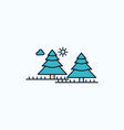forest camping jungle tree pines flat icon green vector image