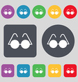 Glasses icon sign A set of 12 colored buttons Flat vector image