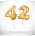 Golden 42 number forty-two metallic balloon party vector image