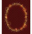 golden confetti oval frame on dark transparent vector image vector image