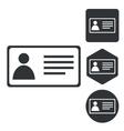 Id card icon set monochrome vector image vector image
