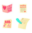 invitation icon set cartoon style vector image