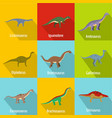 little dinosaur icons set flat style vector image