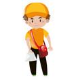 mailman in orange shirt delivering letter vector image