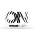 on o n lines letter design with creative elegant vector image vector image