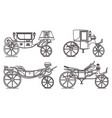 outline set retro cab or carriage vector image vector image