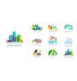 real estate logo building development set of vector image vector image