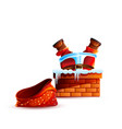 santa claus stuck upside down without bag gift vector image vector image