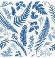 seamless floral pattern in vintage style leaves an vector image vector image