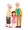 senior grandparents with granddaughter isolated vector image vector image