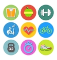 set flat fitness icons vector image