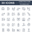 set line icons construction technology vector image