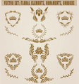 set of golden monograms with floral elements for vector image vector image