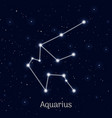 sign zodiac aquarius night sky background vector image