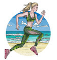 sketch of blonde woman in leggins running vector image vector image