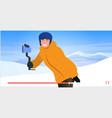 skier or snowboarder using selfie stick man vector image