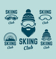skiing club colored colored emblems vector image vector image