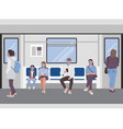 social distancing people inside a subway train vector image vector image