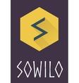 Sowilo rune of Elder Futhark in trend flat style vector image vector image