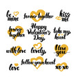 valentine day hand drawn quotes vector image vector image