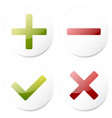 white checkmark cross plus minus vector image