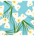 white crocus flower on light blue background vector image vector image