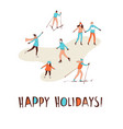 winter sport activities christmas greeting card vector image