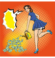 woman watering money pop vector image vector image