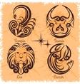 Zodiac signs - Cancer Leo Taurus Scorpio vector image