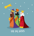 cute christmas greeting card with biblical three