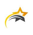 gold star swoosh logo icon vector image