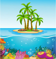 A beautiful island in the middle of the sea vector image vector image
