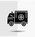 ambulance truck medical help van glyph icon on vector image vector image