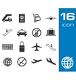 black airport icons set on white background vector image vector image