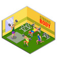 body building workout isometric composition vector image