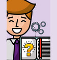 businessman cartoon book learn question solution vector image
