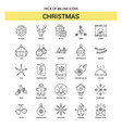 christmas line icon set - 25 dashed outline style vector image