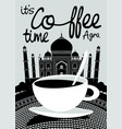 coffee banner on background of indian taj mahal vector image vector image