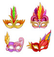 colombina masks with feathers cartoon set vector image vector image